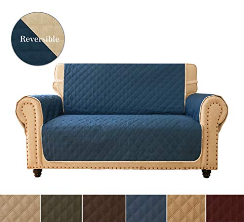 Ameritex Sofa Cover, Reversible Quilted Furniture Protector, Ideal Loveseat Slipcovers for Pets & Children, Water Resistant, Will Keep Your Couch Stain, Dirt&Scratches-Free (style3 Navy, 46'')