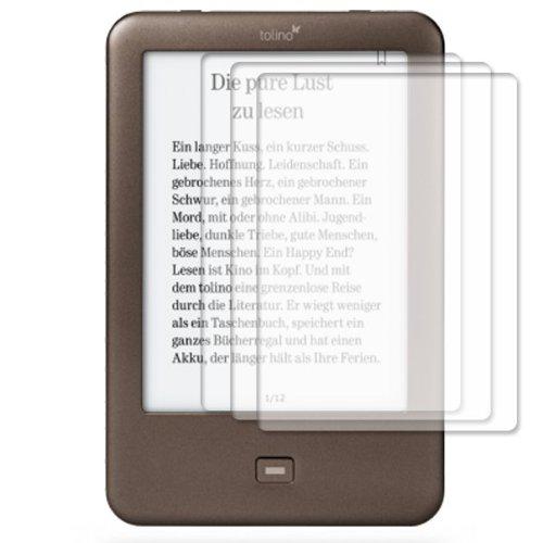 UC-Express 3x Bildschirmschutzfolie für Tolino Shine klar Schutzfolie Bildschirmschutz Folie