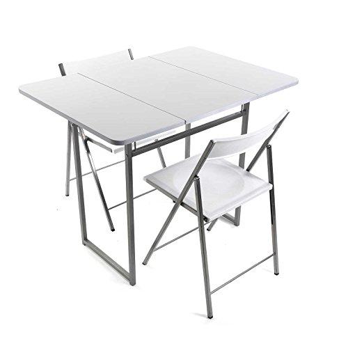 Versa 19840050 Mesa plegable Blanca + 2 sillas, 70x45x80cm, Metal y Polivinilo