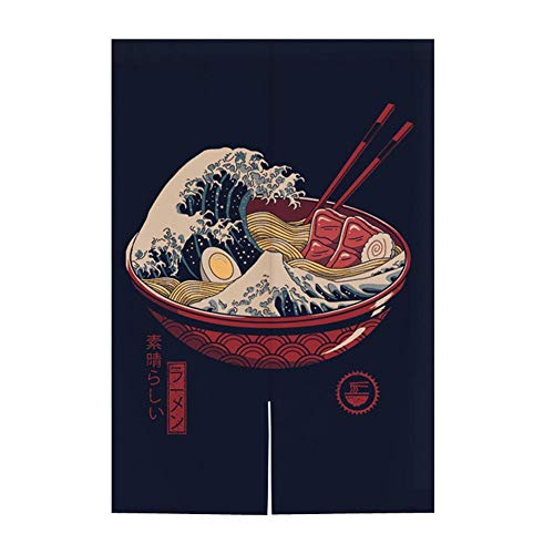 Hornet Park Japanese Style Restaurant Household Kitchen Door Curtain, Ramen Sushi, 31.5 x 51.2 inches [A]