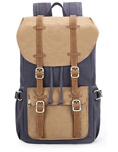 EverVanz Damen Herren Rucksack Reise Wandern Outdoorrucksack Canvas Leder Daypacks für 15...