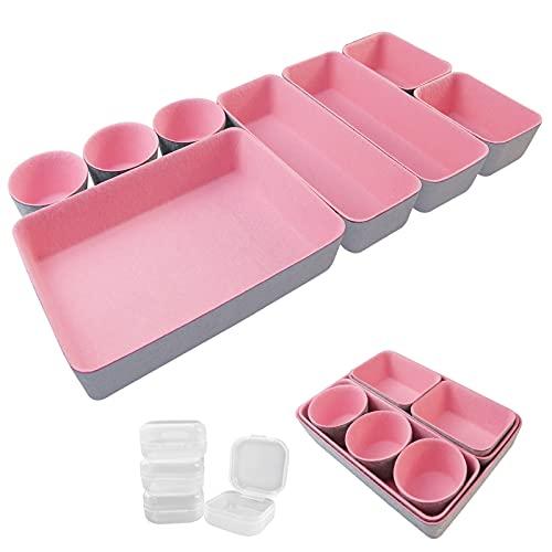 8 Stück Schmucktabletts Schrank Kommode Schublade Organizer für Zubehör, Gadgets, Kosmetik, Schreibtisch Büro Aufbewahrung Display Schublade Organizer Tabletts Make-up-Halter (grau + rosa)