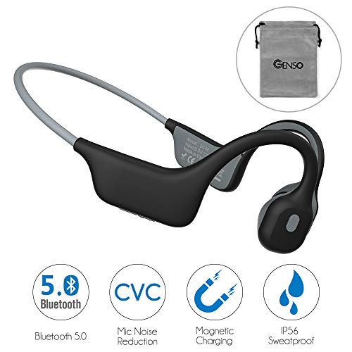Open-Ear Bone Conduction Headphones Microphone Noise Reduction Magnetic Charging IP56 Sweatproof Bluetooth 5.0 Wireless Sports Headset for Working Running Cycling, Lightweight 1.0 oz (Grey)