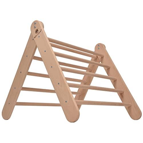 GOODEX Kletterdreieck   Klettergerüst Indoor Holz verstellbar   Sprossendreieck höhenverstellbar   Pikler Dreieck für Kinder und Baby   Montessori Spielzeug   Indoor Spielgerät ab 10 Monate