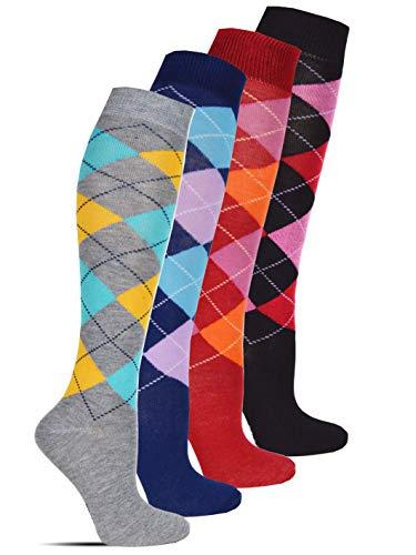Socked Damen Kniestrümpfe (6x Paar) Baumwolle Karo Mehrfarbig (Karo - mehrfarbig, 39-42)