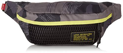 Levi's Herren Standard Banana Sling - Mesh Camo Schultertasche, Grau (Dark Grey), 3.5x15.5x42 centimeters