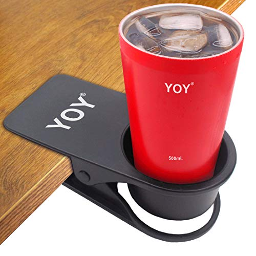 YOY Drinking Home Office Table Desk Side Huge Clip Water Drink Beverage Soda Coffee Mug Holder Cup Saucer Design, Black
