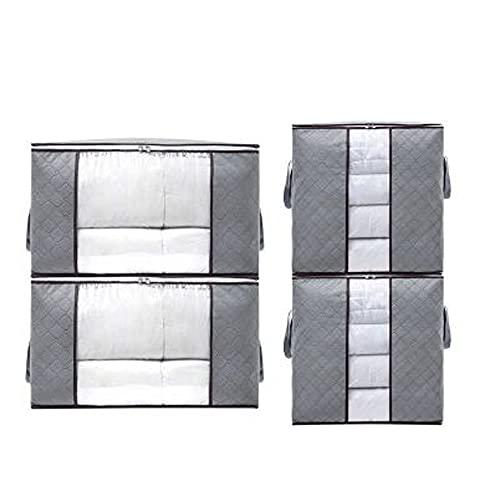 SXYL 4-stück große Kapazitätskleidung Aufbewahrungstasche, Organizer mit verstärktem Griff, faltbar mit Stabiler Reißverschluss, klarem Fenster, für Bettdecken, Decken, Bettwäsche, Grau