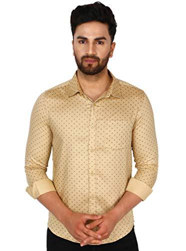 SKAVIJ Men's Floral Slim Fit Long Sleeve Cotton Casual Button Down Dress Shirt (Medium, Cream)