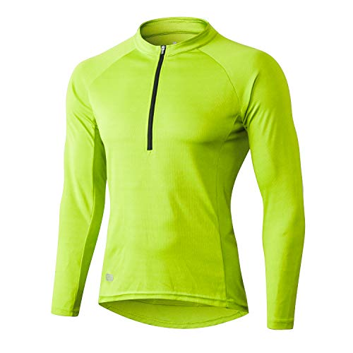 INBIKE Maillot Bicicleta Hombre Jersey Ciclismo con Mangas Largas Camiseta Interior Ciclista para Invierno(Verde, M)