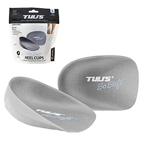 Tuli's So Soft Heavy Duty Gel Heel Cups Provide Relief for Plantar Fasciitis, Heel Pain, and Shock Absorption, Large