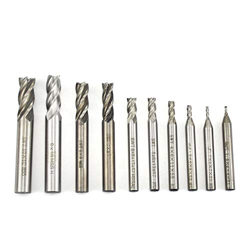 BIGP 10 pieces HSS 4 flute end mill 1.5-10 mm cylindrical shaft coated metal cutter drill bit set, carbide CNC rotary burr bit set, carving drill tools