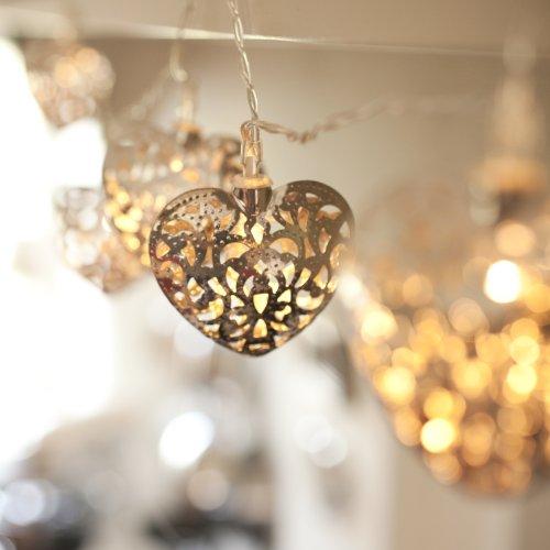 Catena di 10 Cuori in filigrana argento illuminati a LED a pile di Lights4fun