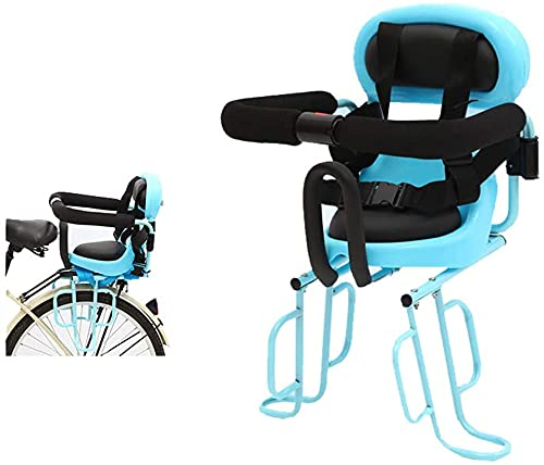 X&Y Asiento de Bicicleta de niño montado Trasero con pasamanos y Pedal para Bicicletas eléctricas para niños Asientos de Seguridad para niños Asiento Trasero Cojín de Silla de Montar (Color : Blue)