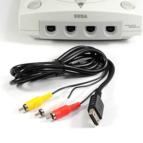 DERCLIVE 6Ft RCA AV A/V-Kabel für Sega Dreamcast Stereo-Composite-Audio-Video-TV-Adapter Adapter 1 8 M