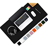 Aothia Eco-Friendly Natural Cork & Leather Double-Sided Office Desk Mat & Mate Mouse Pad Smooth Surface Soft Easy Clean Waterproof PU Leather Desk Protector for Office/Home Game (Black,31.5' x 15.7')