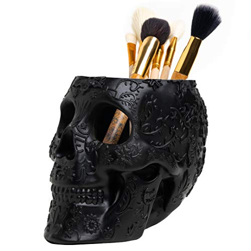 Skull Makeup Brush Holder Extra Large, Strong Resin Extra Large By The Wine Savant (Black)