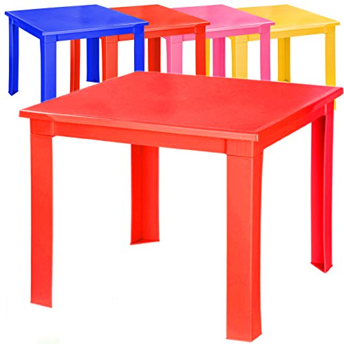 Kids Children Plastic Table Strong Folding Table Suitable for Outdoor Side Table (Red)