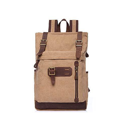 QXbecky Mochila bolsa de lona duradera para hombres bolsa retro para hombres mochila de viaje al aire libre piel de caballo loco senderismo senderismo camping 20-35L 57x32x14cm caqui 57x32x14cm