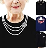 Image of Classy Pal, Adult Bibs for Women Washable, Dress 'n Dine Clothing Protectors for Eating, Senior Adult Bib Terry Cloth Crumb Catcher, Embroidered Design, Waterproof & Reusable (Pearl Necklace)