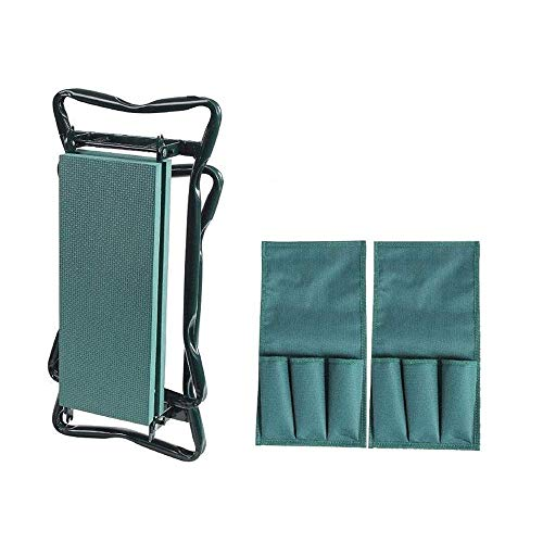 MPZZ Garden Kneeler and Seat,with Kneeling Pad EVA Foam Pad Foldable Stool for Gardening with 2 Large Tool Pouches Garden Bench