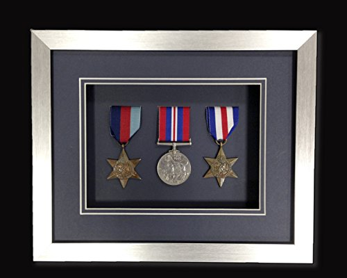 Picture Framing Direct Silver 3d Deep Box Frame To Display War/Military/Sports Medals (Navy Blue Mount, Three Medals)