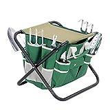 Garden Folding Stool Chair with Tool Storage Bag Picnic Camping Fishing Folding Garden