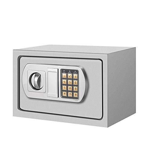 Arebos - Caja fuerte electrónica para armarios de pared, caja fuerte en color plateado y negro (plata)