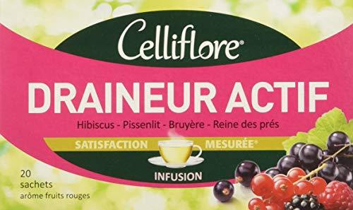 CELLIFLORE Infusion Draineur Actif à Base d'Hibiscus/Pissenlit/Bruyère/Reine des Près 20 Sachets