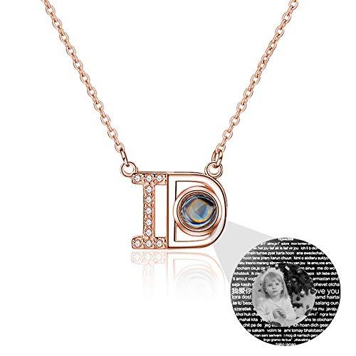 Collar de proyección Collar de foto personalizado Collar de 100 idiomas Collar con colgante de identificación de letra(Oro rosa Blanco y negro 16)