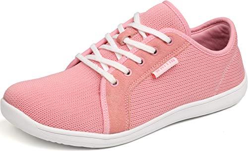 WHITIN Damen Knit Barfussschuhe Traillaufschuh Schuhe Barfußschuhe Barfuß Trekkingschuhe Minimalschuhe Trail Laufschuhe Zehenschuhe Laufschuh Sneaker für Frauen Zuma Running Shoes Rosa gr 37 EU