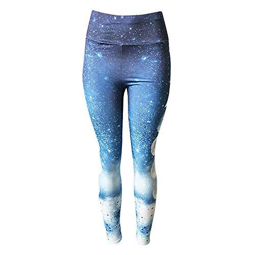 B/H Super weiche Yoga Pilates Hosen,Moon Printed Jogging Gym Sport Leggings,Wokout Strumpfhose Kleidung Sportswear-M,Lange Blickdicht Yoga Hose Sporthose