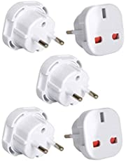 Tech Traders YD-9625 - Adaptadores de enchufe del Reino Unido a la UE, de dos patillas, color blanco, 5 unidades