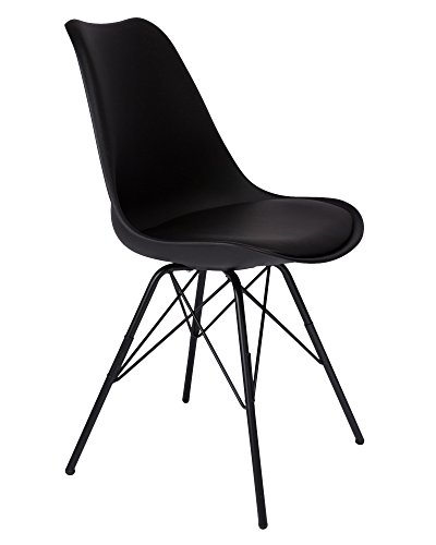 SAM Schalenstuhl Lerche, schwarz, integriertes Kunstleder-Sitzkissen, Schwarze Metallfüße, Esszimmerstuhl im skandinavischen Stil