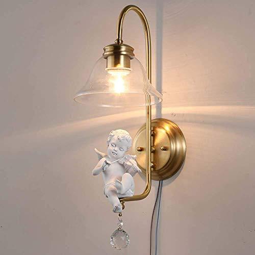 Mkjbd Wandlamp wandlamp wandlamp wandlamp wandlamp wandlamp modern koper kristal giardino engel viool wandlamp nachtkastje woonkamer