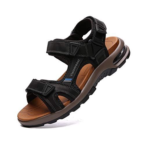 visionreast Herren Outdoor Sports Sandalen Trekking Leichte Leder Strand Wandersandalen Männer Sommer Klettverschluss Offroad Sandale Schuhe Waterproof, Schwarz1, 38 EU