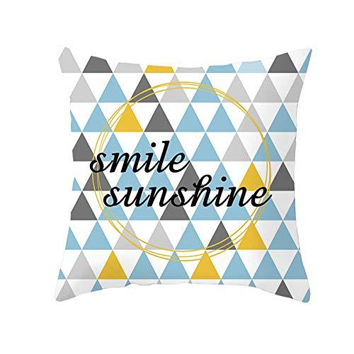 KnBoB Funda Almohada Poliéster 40 x 40 cm Smile Sunshine Triángulo Oro Azul Estilo 9