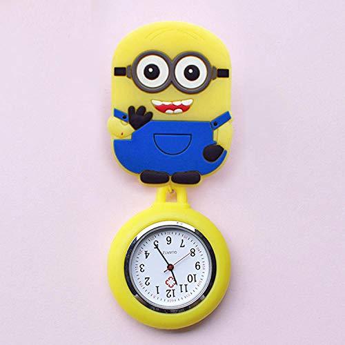 Reloj de Enfermera,Reloj de Bolsillo médico retráctil, Lindo Reloj de Bolsillo de Silicona-Ojos,Reloj Enfermera de Flor