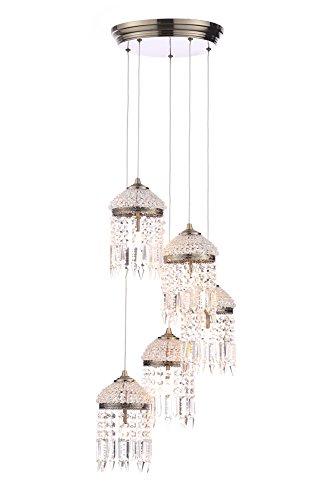 Illuminate Calama Deckenleuchte, 5-flammig, Art-Deco-Stil, mit Kristalltropfen, Vintage-Finish, Messing antik (B bis E)
