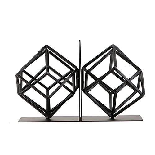 Sujetalibros geométricos de hierro fundido resistente, soportes decorativos para libros pesados