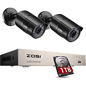 ZOSI 1080P 2 Camera CCTV Home Security System 4 Channel H.265+ Surveillance Video Recorder 2x 1080P Indoor/Outdoor Color Bullet Metal Cameras Include 1TB Hard Drive 80ft(24m) IR night vision