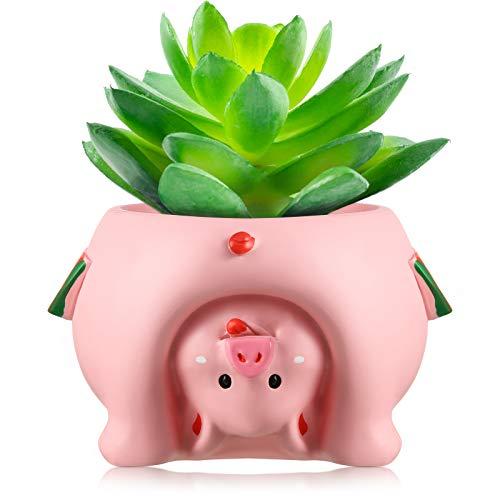 Bello Vaso di Fiori di Animali Vasi di Fiori a Tema di Cartoon Mini Vasi per Piante Succulente Piccolo Carina Vaso in Resina con Foro di Scarico per Casa, 2,6 Pollici (Maiale Rosa)