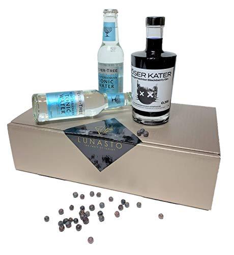 LUNASTO | Böser Kater Brombeer Gin mit Fever Tree Mediterranean Tonic Water als Geschenkidee/Geschenkkorb/Präsentkorb für Männer und Frauen zum Geburtstag-einzigartig fruchtiger Geschmack