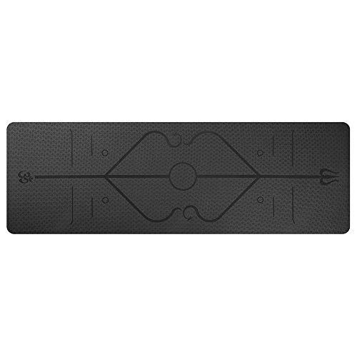 chebao, Esterilla de yoga antideslizante con correa de esterilla de yoga, TPE Fitness Yoga Mat antideslizante Sports Gym Pads con línea de posición (negro)