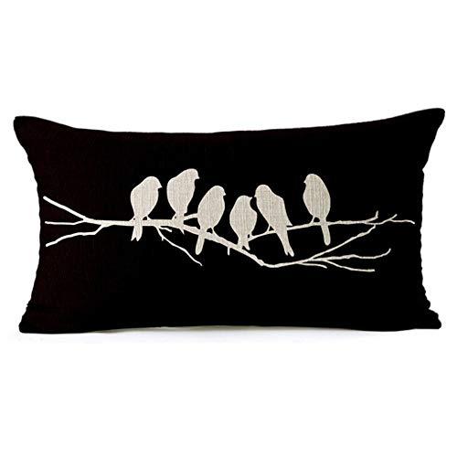 WAWO Cotton Linen Square Throw Pillow Case Decorative Cushion Cover Pillowcase for Sofa 18'X 18' Black and White cat