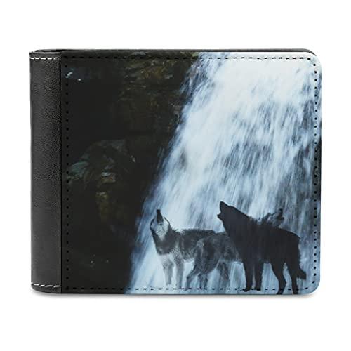 Magiböes PU Leder Geldbörsen für Herren Wolf Wasserfall Geldbörse Bi-Fold für Herren für Männer,Ehemann,Vater,Sohn Geschenk white One Size