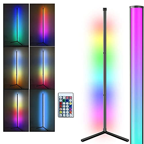 Lámpara de pie LED regulable con mando a distancia, Masqudo, 156 cm, RGB, regulable, cambio de color, color negro, lámpara de pie para habitación infantil, dormitorio o salón