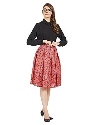 ELINA FASHION Women's Casual Pleated Vintage Mini Skater Skirt Flared Retro Grid Print A-Line Midi Skirts