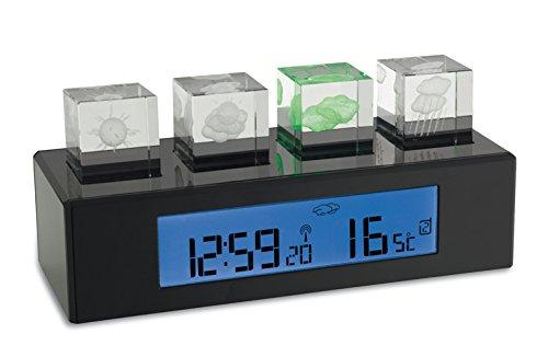 TFA Dostmann Crystal Cube Funk-Wetterstation, mit 3D-Anzeige, Außentemperatur, Innentemperatur, Höchst- und Tiefwerte, mit Funkuhr
