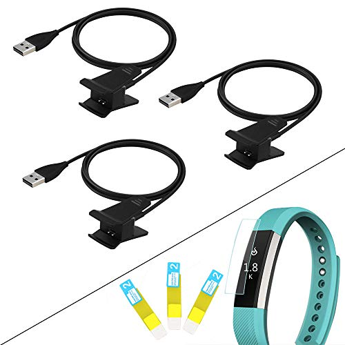 3 Pack Charger Clip Cable with 3 Screen Protector for Fitbit Alta Smart Fitness Watch Replacement Charging Cord (NOT for Fitbit Alta HR)